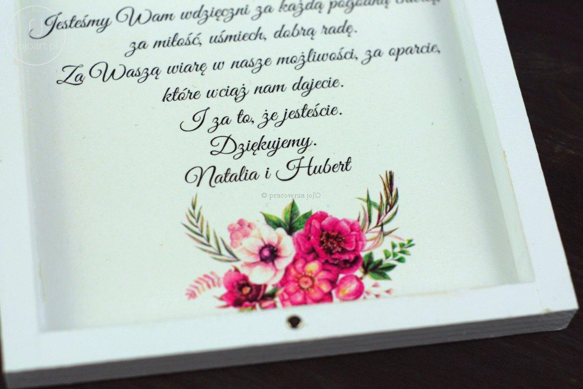 Pudełko ślubne Podziękowanie Zaproszenie Kwiaty Bukiecik Fuksja